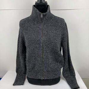 Athleta Women's Swissvale Bomber Sweater Size M Gray Jacket Cardigan Cropped